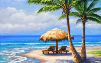 Tropical Beach Painting - Other & Abstract Background ...