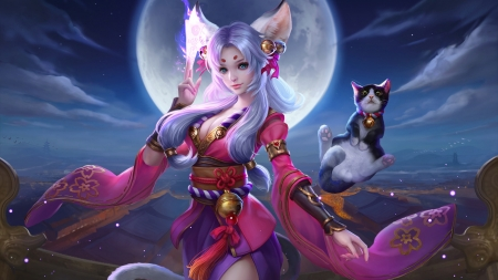 Anime Girl With Cat Ears Wallpaper Cat Woman Fantasy Amp Abstract Background Wallpapers On