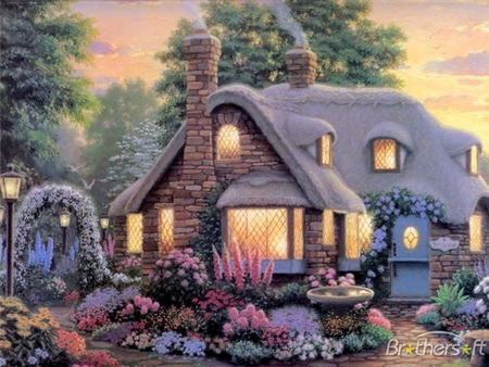 3d Roof Wallpaper Peaceful Cottage Fantasy Amp Abstract Background