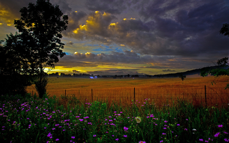 Free Wallpaper Fall Colours Scenic Country Farm Evening View Forces Of Nature