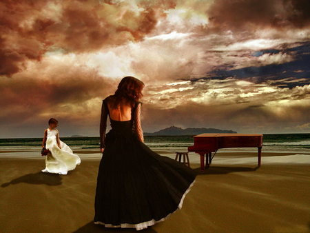 Black Sad Girl Wallpaper The Piano Fantasy Amp Abstract Background Wallpapers On
