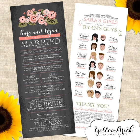 Fun and Creative Wedding Programs - wedding program