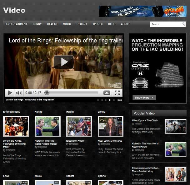 Free Video WordPress Theme - Dobeweb