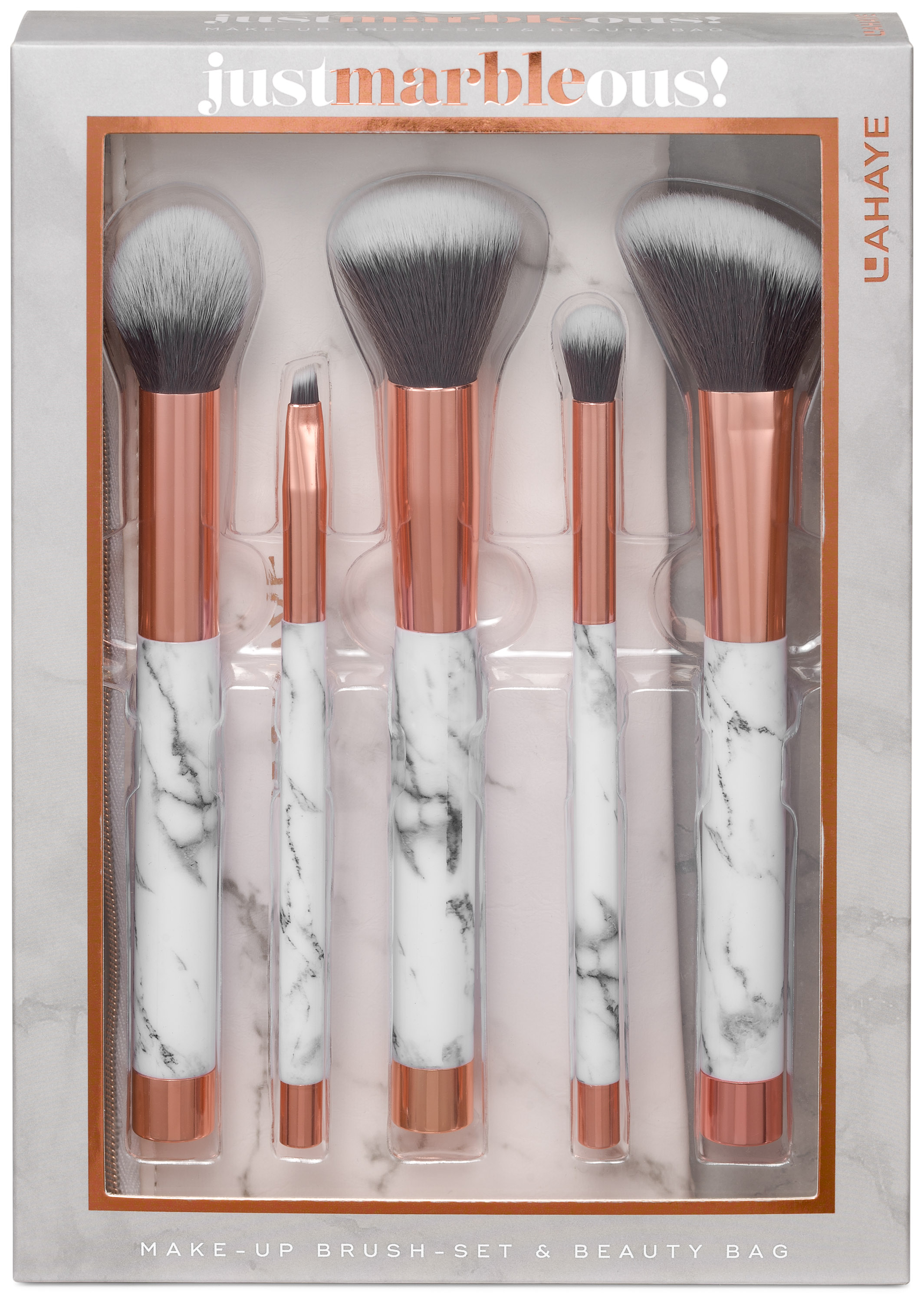 Pinsel Set Lahaye Marble Ous Pinsel Set 5 Teiliges Make Up Brush Set Mit Beauty Bag