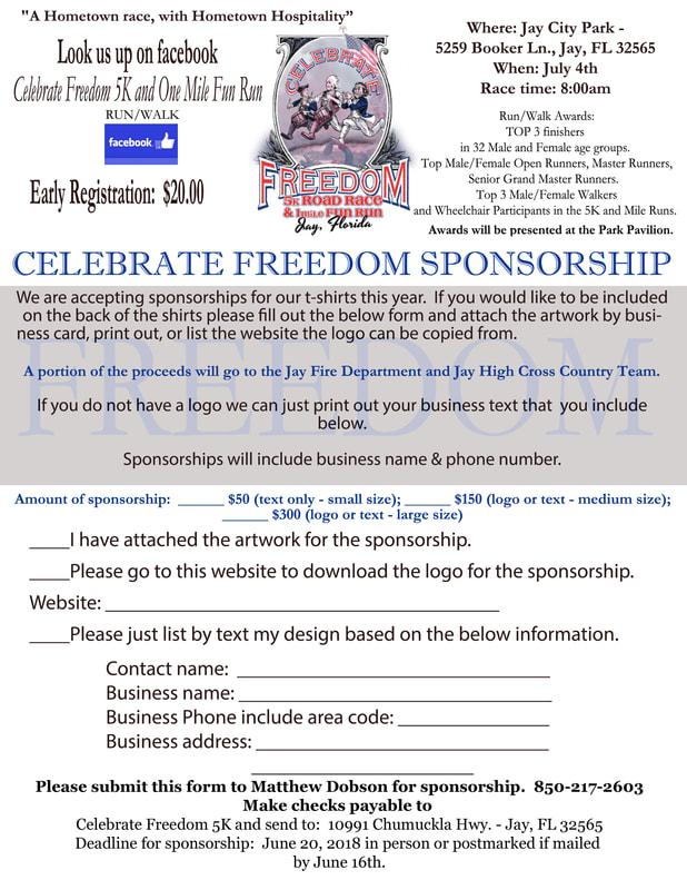 Celebrate Freedom 5K Sponsorship Form