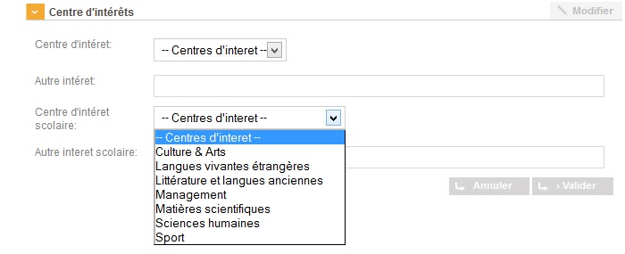 listes interets cv