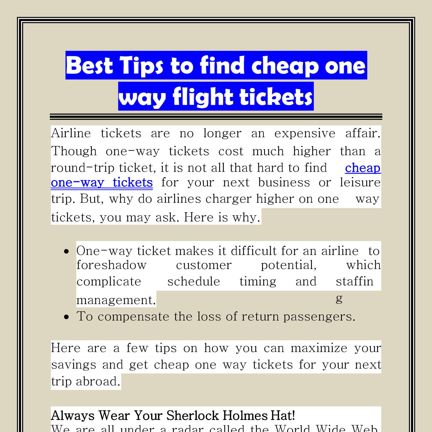 Cheap One Way Flights Best Tips To Find Cheap One Way Flight Tickets Pptx Docdroid