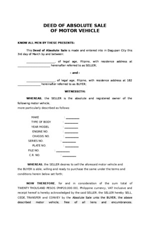 Deed of Sale (Motor Vehicle) Sample - Download Legal forms