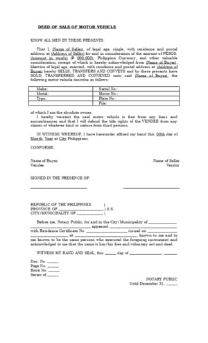 Deed of Absolute Sale (Motor Vehicle) - Download Legal forms