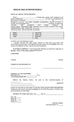 Blank Deed of Sale of Motor Vehicle Template - Download Documents