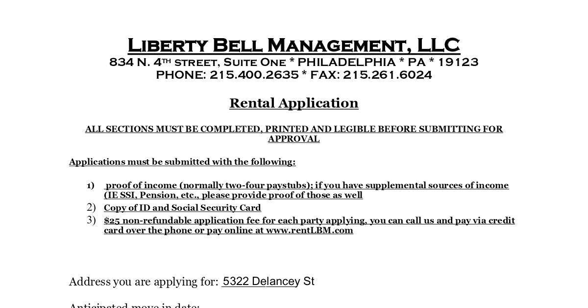 Liberty Bell Management Tenant Application Form DocHub - tenant application form