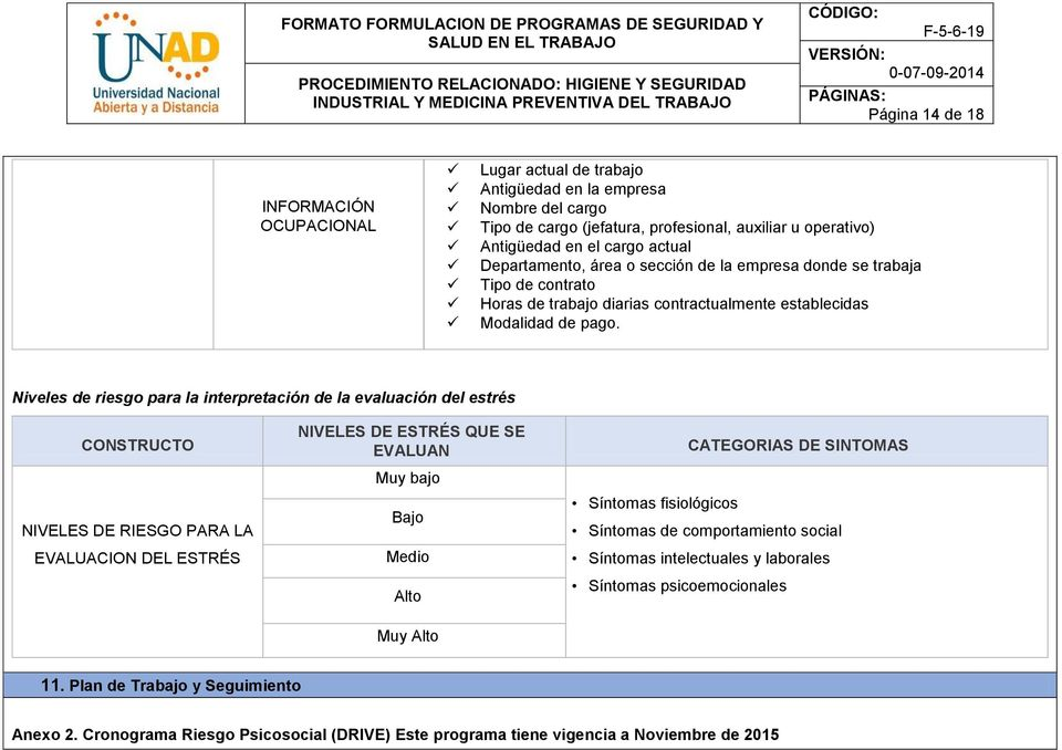 FORMATO FORMULACION DE PROGRAMAS DE SEGURIDAD Y SALUD EN EL TRABAJO