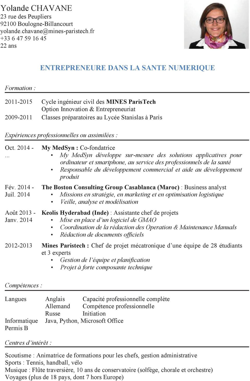cv ingenieur informatique competence technique