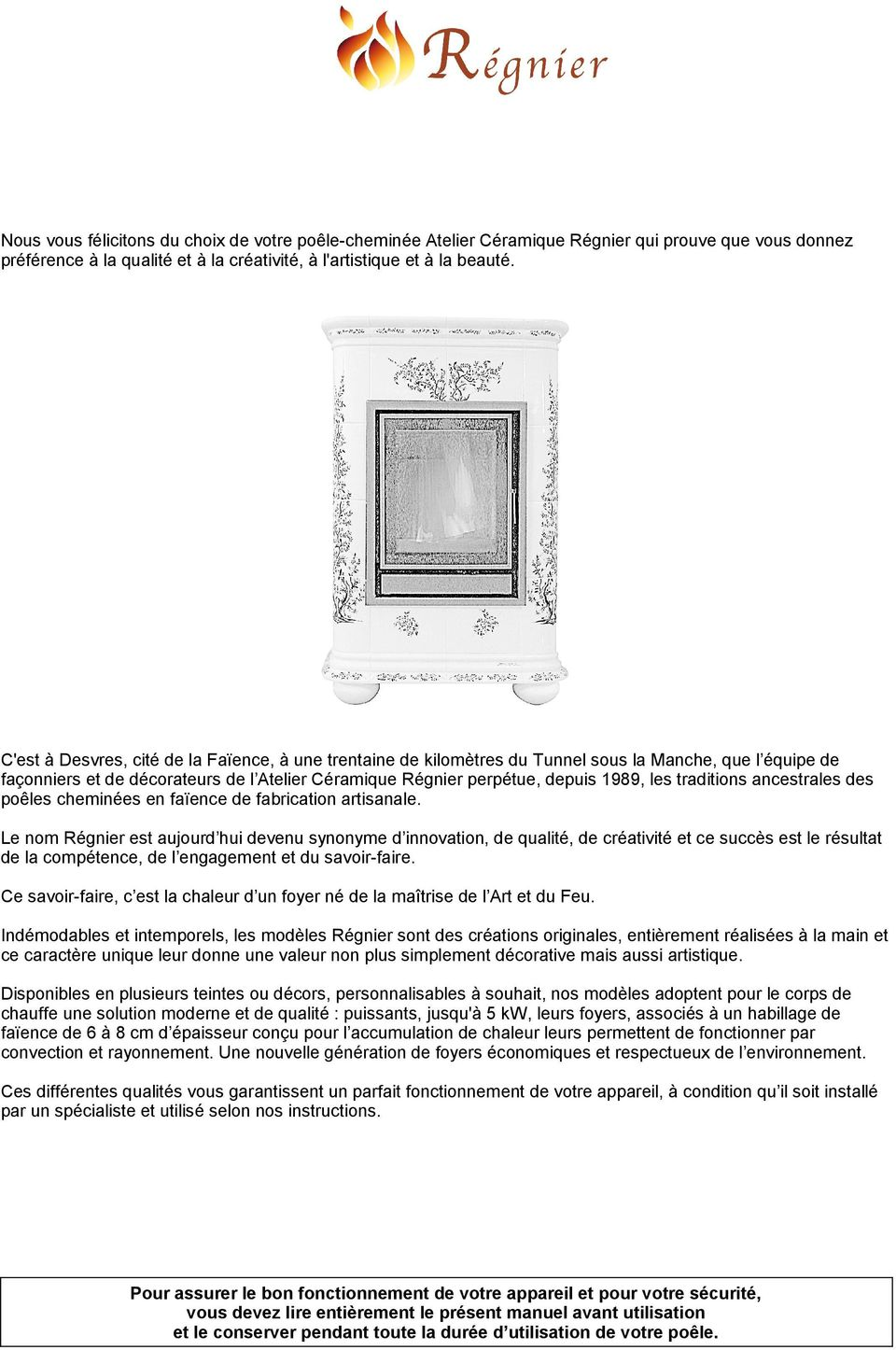 Atelier Ceramique Regnier Cheminees Instructions D Installation Mode D Emploi Pdf