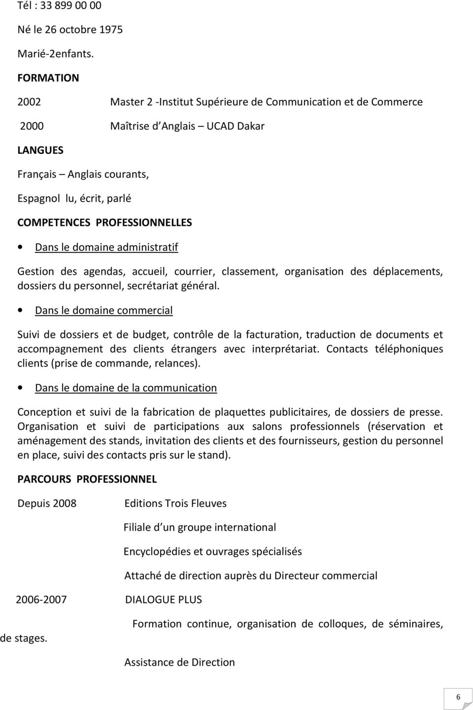 exemple de cv attache administratif