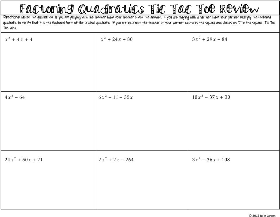 Tic Tac Toe Review or Partner Activity - PDF