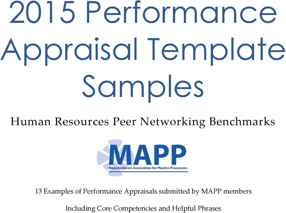2015 Performance Appraisal Template Samples - PDF