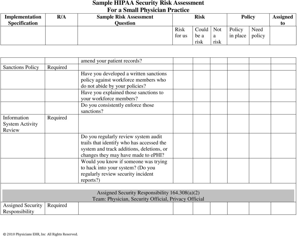 Appendix 4-2 Sample HIPAA Security Risk Assessment For a Small