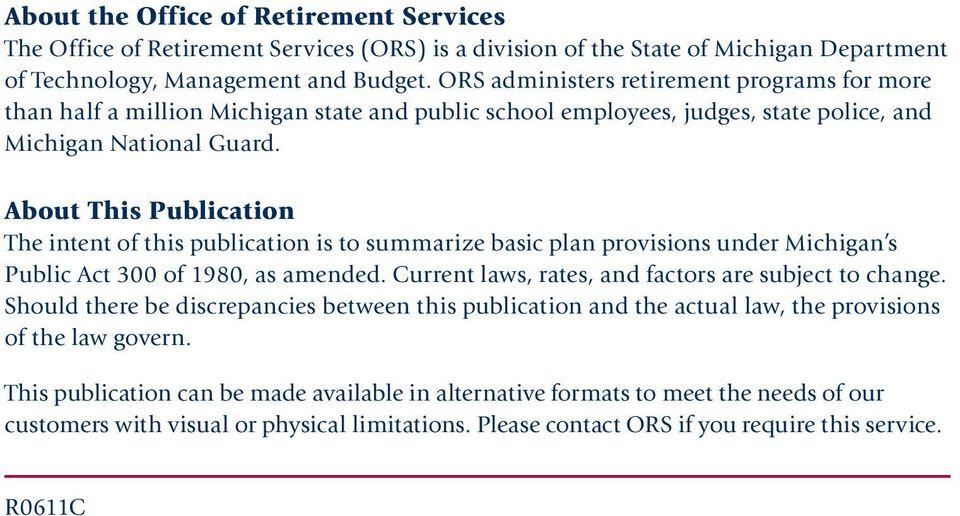 Your Retirement Plan A Member Handbook for Michigan s Public School - retirement programs