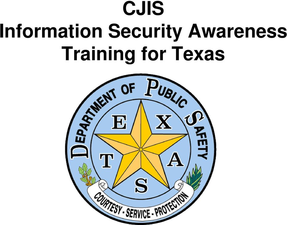 CJIS Information Security Awareness Training for Texas - PDF