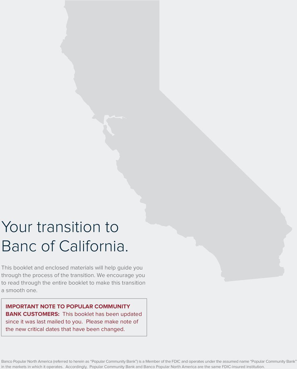 Banc A Charge Guidee Welcome Popular Community Bank Transition To Banc Of California