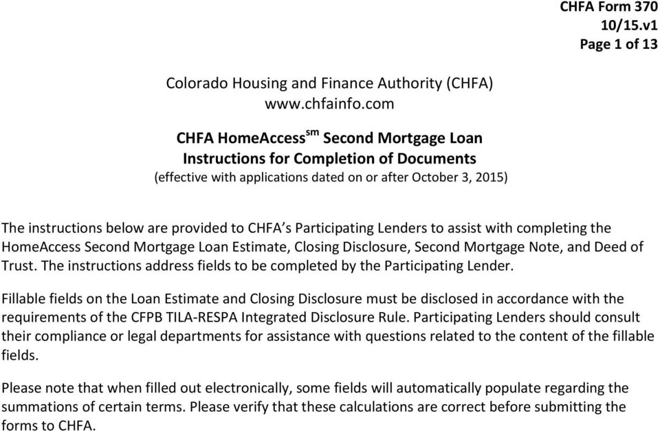 Colorado Housing and Finance Authority (CHFA) - PDF - Loan Estimate Form