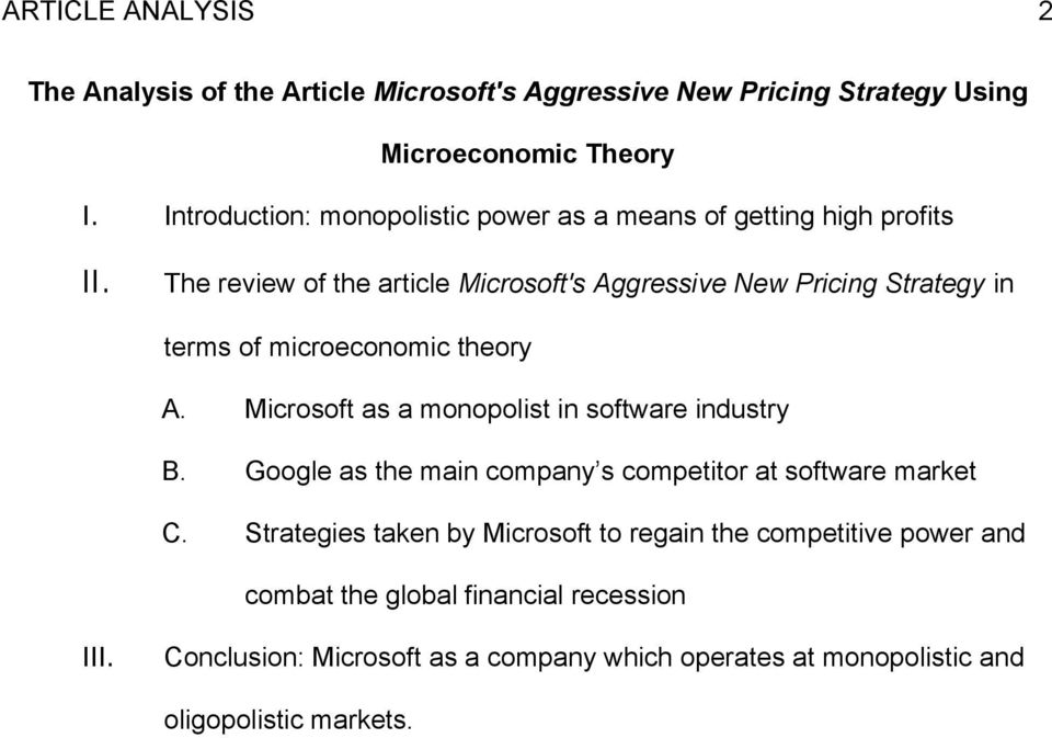 The Analysis of the Article Microsoft\u0027s Aggressive New Pricing
