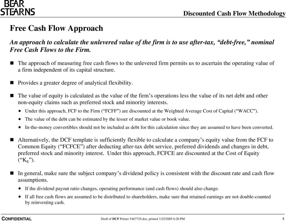 Discounted Cash Flow Methodology Table of Contents Section 1