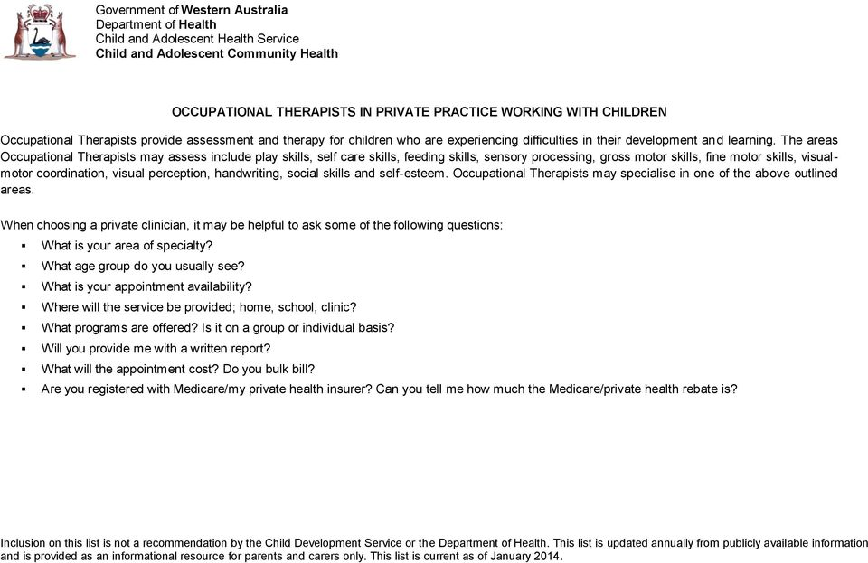 OCCUPATIONAL THERAPISTS IN PRIVATE PRACTICE WORKING WITH CHILDREN - PDF
