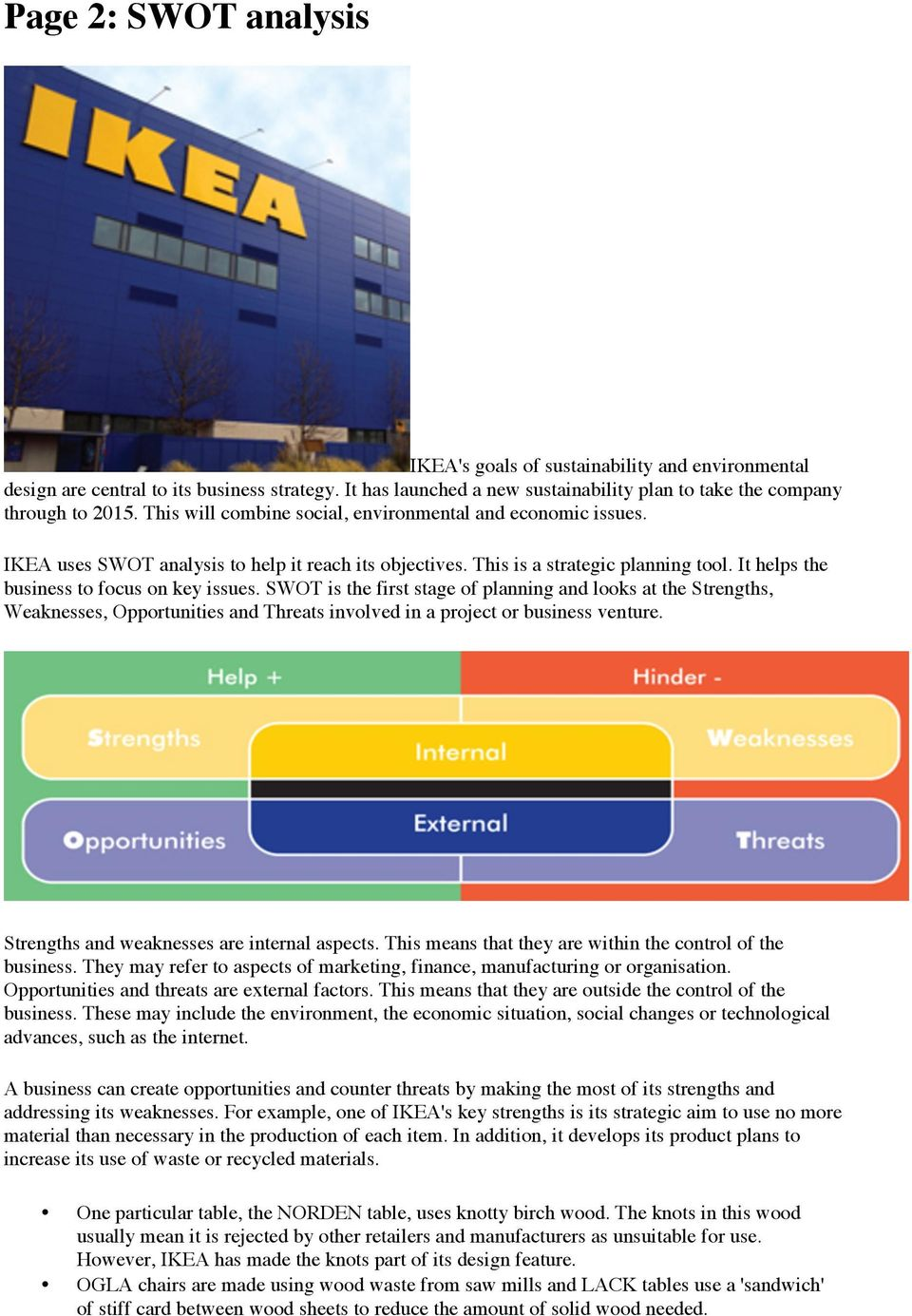 Ikea Case Study Swot Analysis And Sustainable Business Planning Pdf Free Download