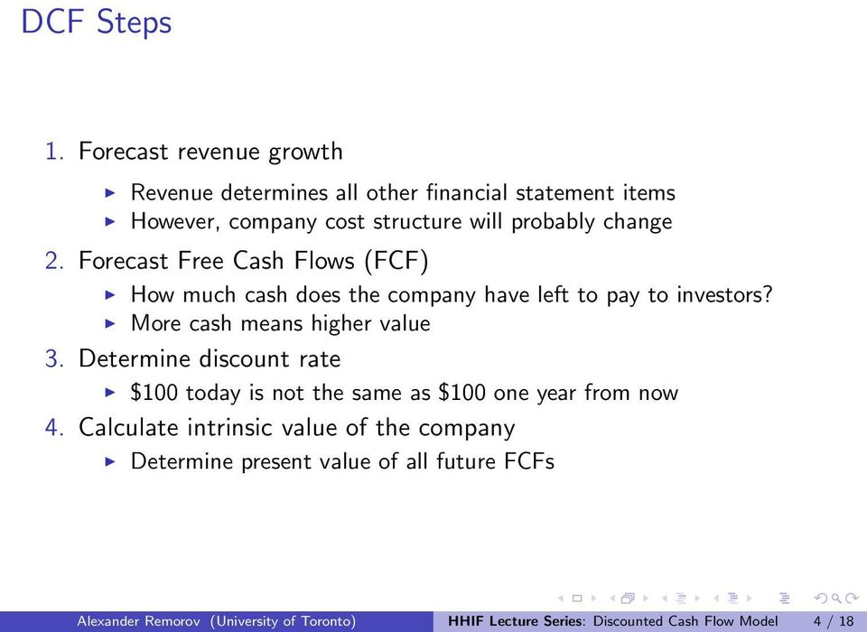 HHIF Lecture Series Discounted Cash Flow Model - PDF