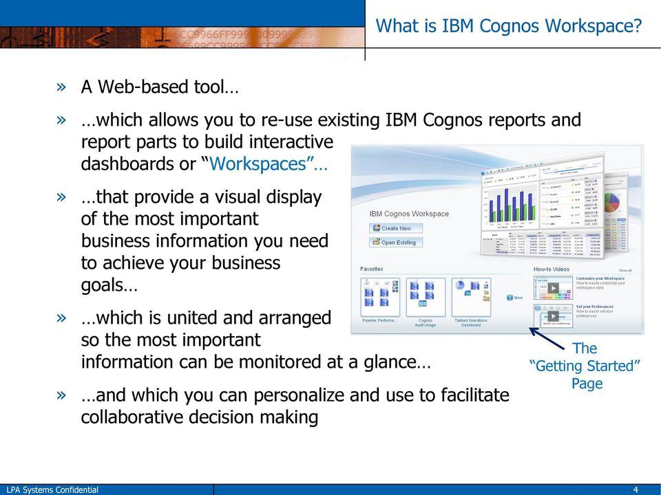 Introduction to IBM Cognos Workspace - PDF