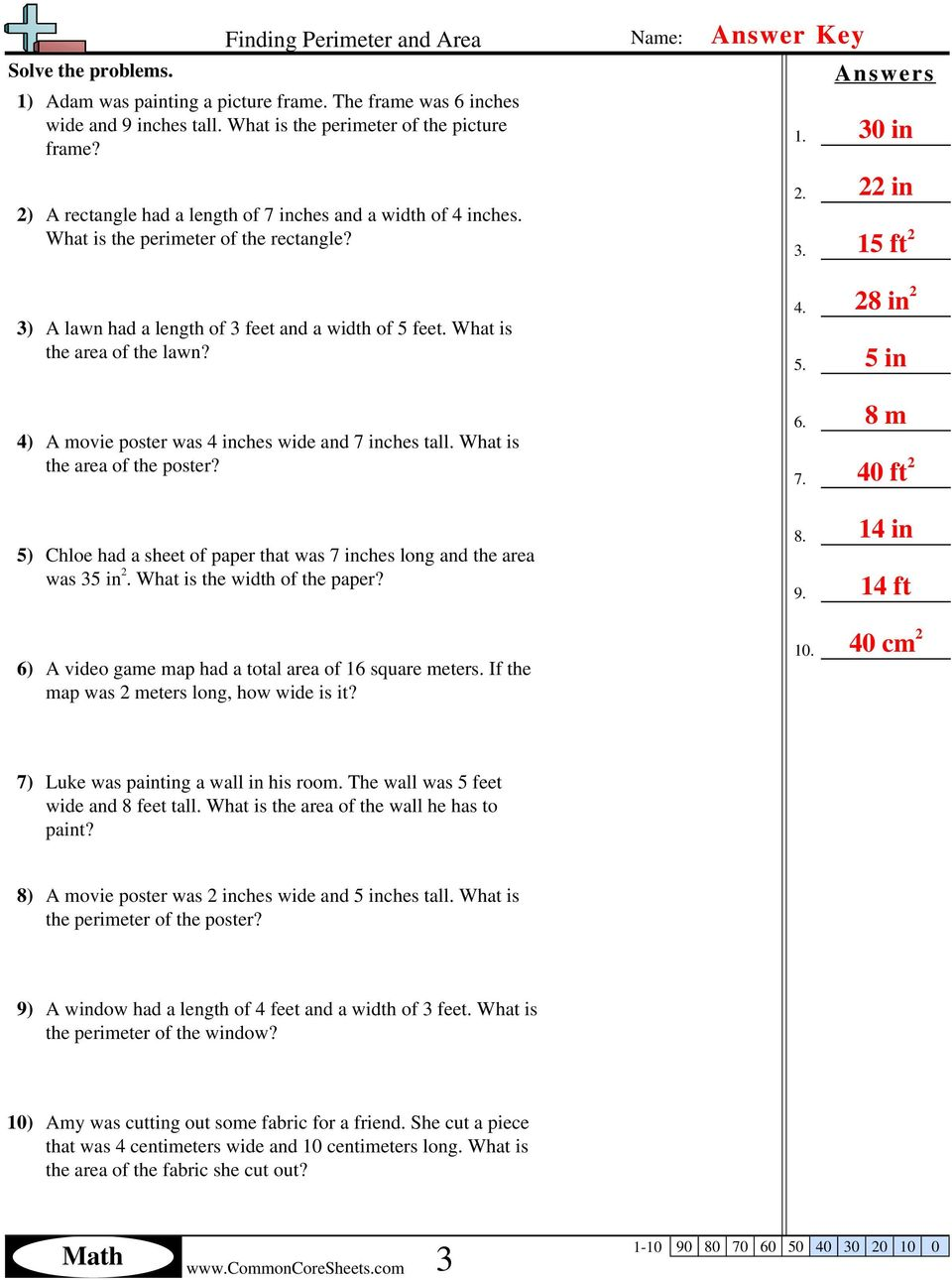5 5 In Meters Math Finding Perimeter And Area Answers Name Solve The