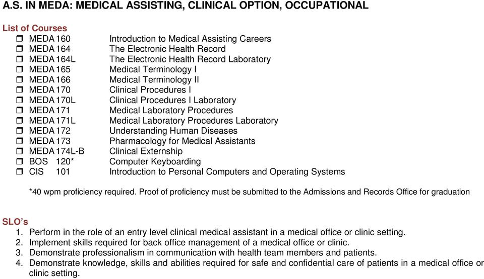 AS IN MEDA MEDICAL ASSISTING, CLINICAL OPTION, OCCUPATIONAL - PDF