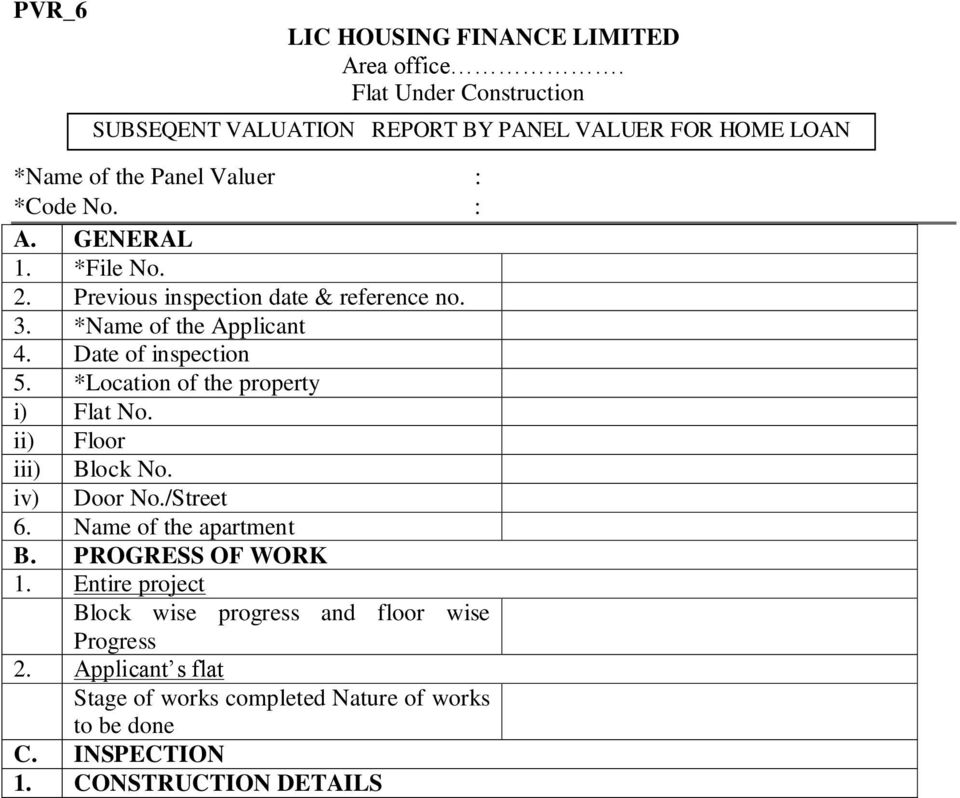 PVR 1 LIC HOUSING FINANCE LIMITED Area Office House Construction