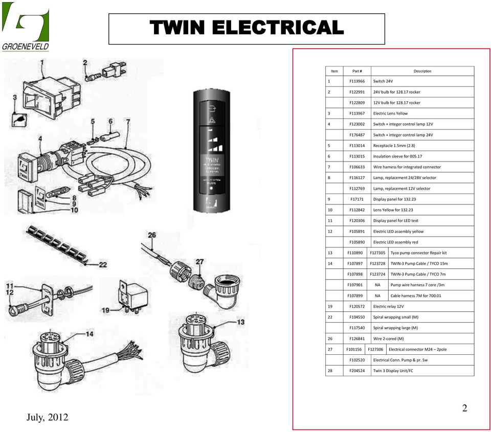 lamp electrical parts kit