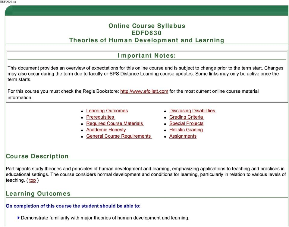 Online Course Syllabus EDFD630 Theories of Human Development and