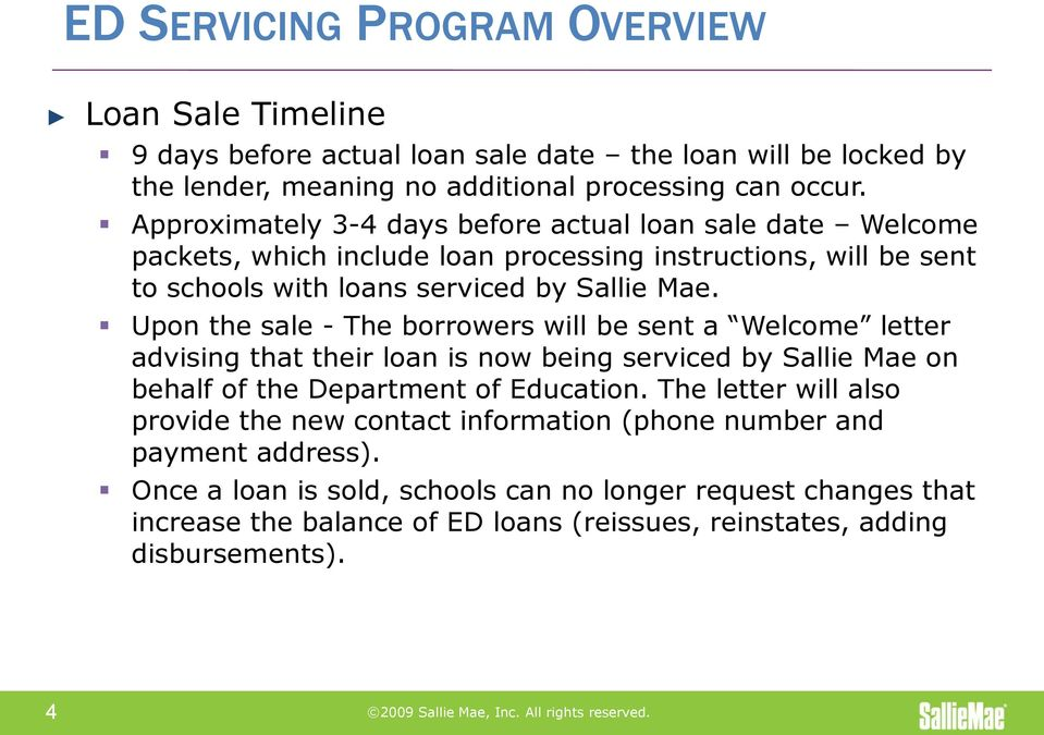 SALLIE MAE SERVICING OF DEPARTMENT OF EDUCATION LOANS OPENNET