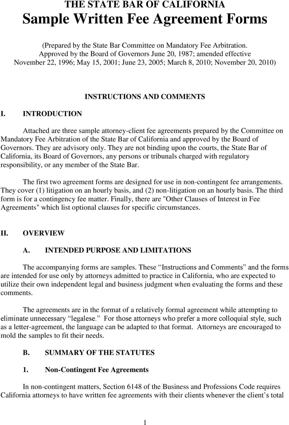 California State Bar The State Bar Of California Sample Written Fee Agreement Forms Pdf