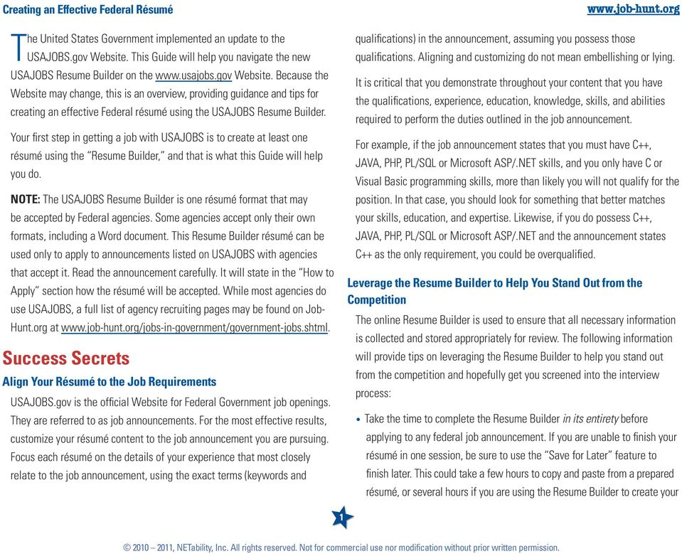 Quick Guide Create an Effective Federal Résumé with the USAJOBSGOV