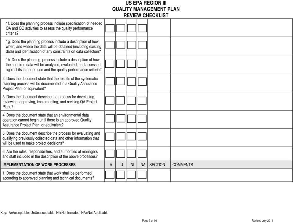 US EPA REGION III QUALITY MANAGEMENT PLAN REVIEW CHECKLIST - PDF