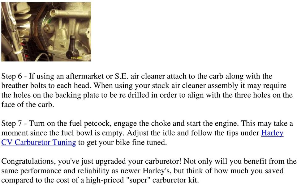 Harley Davidson CV Carburetor Upgrade - PDF