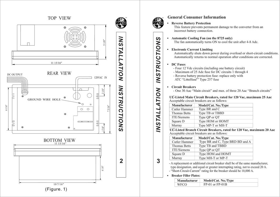 Installation/Operator Manual For use with WFCO ULTRA III Power