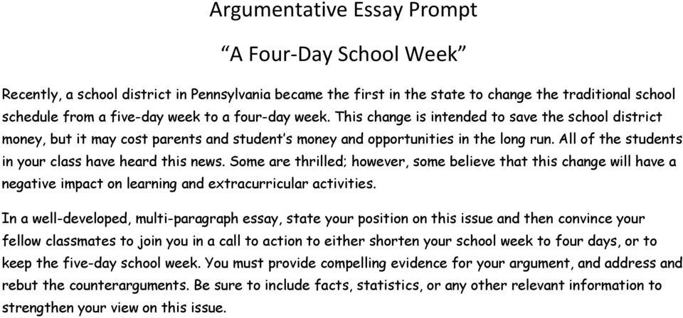 Argumentative Essay Prompt A Four-Day School Week - PDF