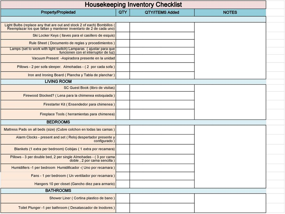 Housekeeping Inventory Checklist - PDF