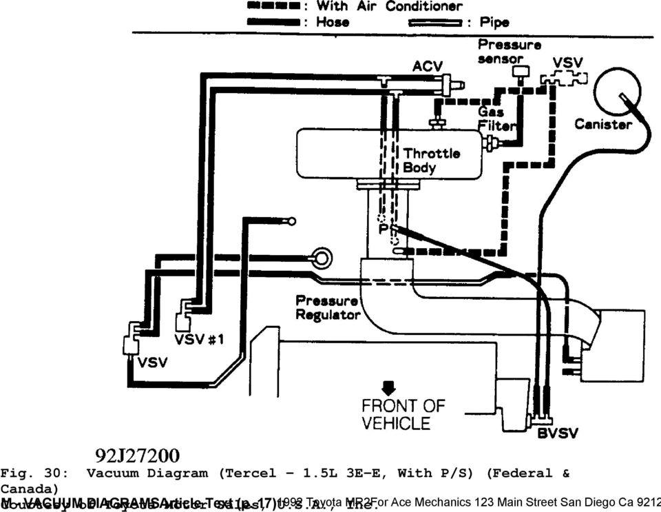 1992 ENGINE PERFORMANCE Toyota Vacuum Diagrams Camry, Celica