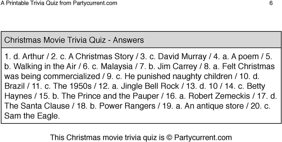photo regarding Printable Christmas Movie Trivia Questions and Answers named Xmas Trivia Issues With Methods