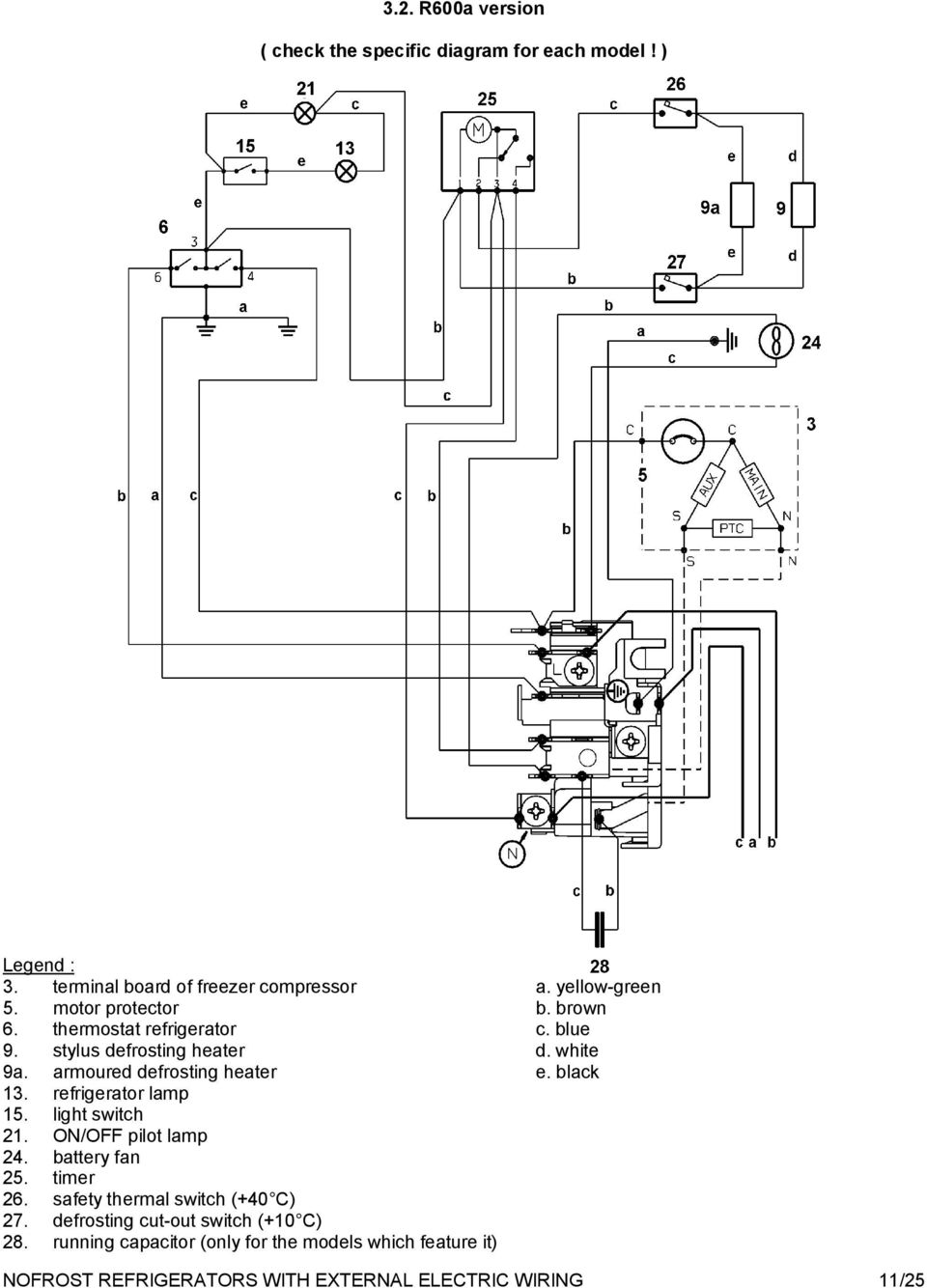 wiring diagram of refrigerator nofrost