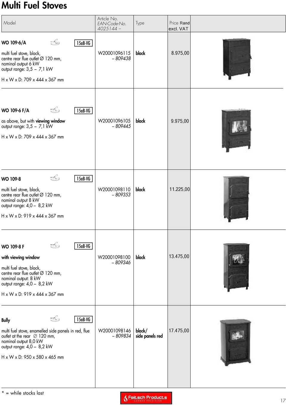 Wamsler Typ 10180 Export Price List Stoves Pdf