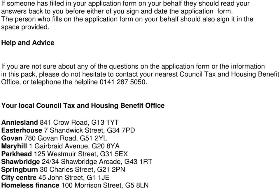 Glasgow City Council Housing Benefit and Council Tax Reduction